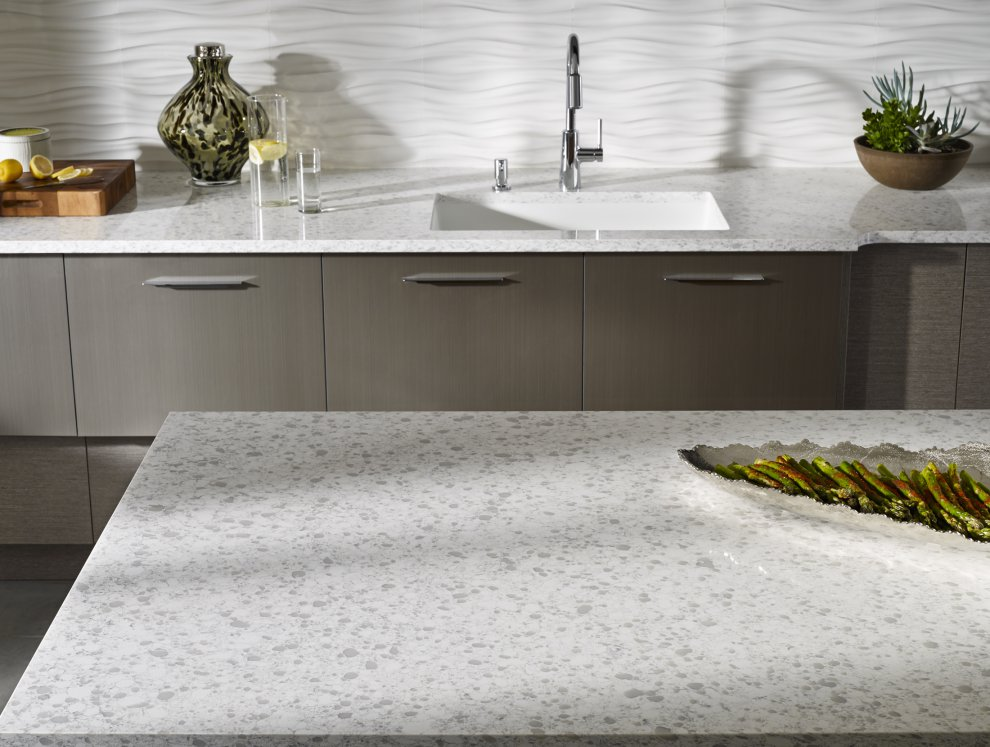 Charming Countertop And Island In Zodiaq® Snowdrift With Corian® Backsplash